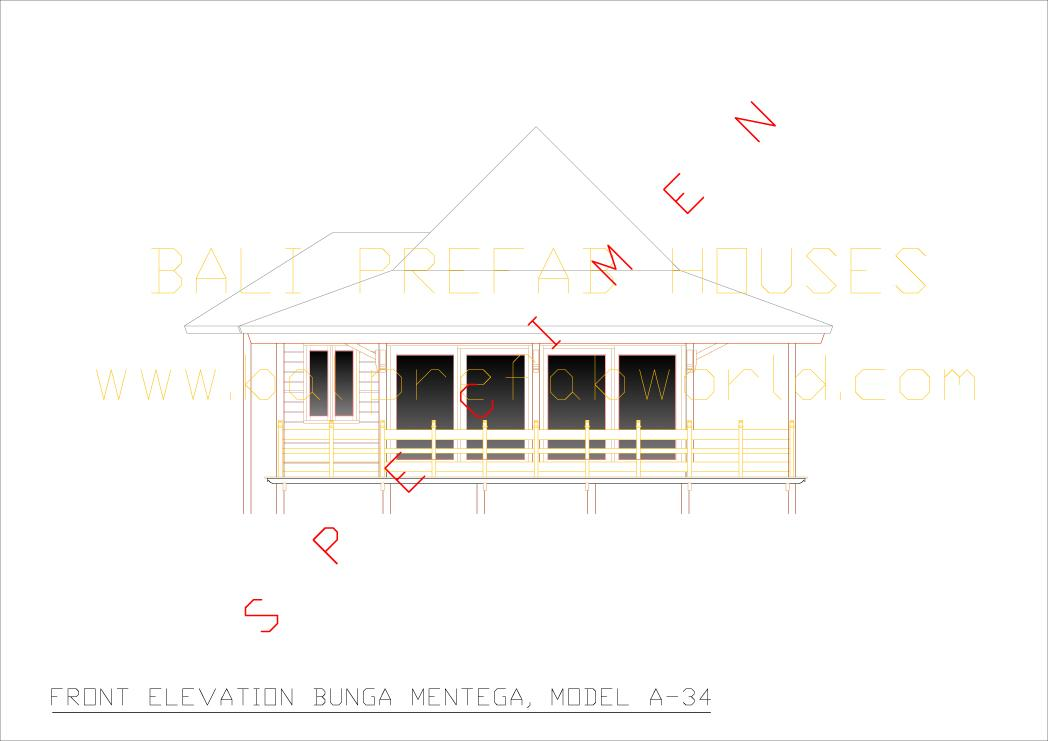 Bunga mentega front elevation